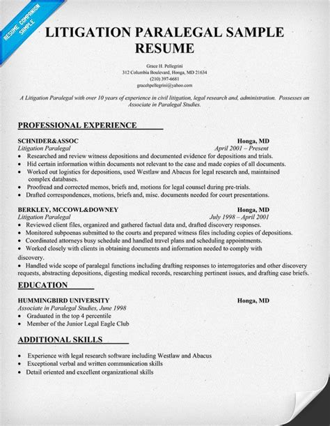 Free Paralegal Resume Templates Litigation Paralegal Resume Sle Paralegal Pinterest Resume Career Options And Paralegal