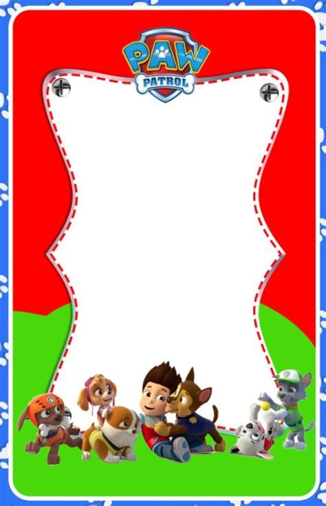paw patrol birthday card template free invitation template or card idea poster etc paw patrol