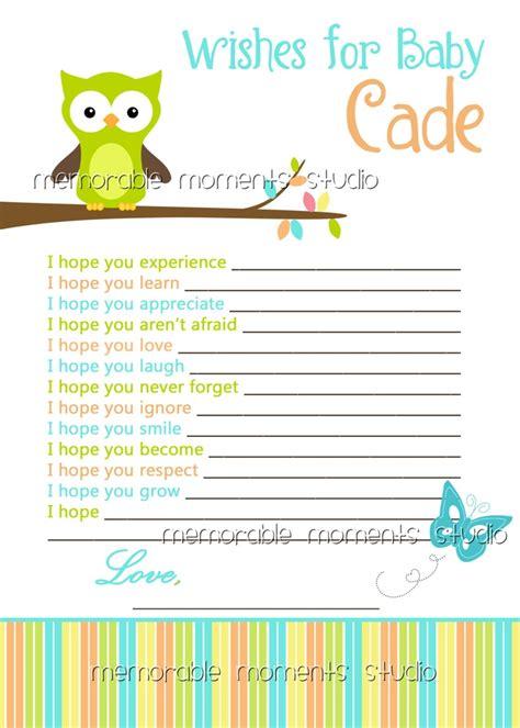 baby shower wish list sle printable wish list owl baby boy shower collection