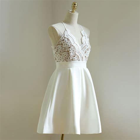 V Neck Spaghetti Lace Dress spaghetti v neck homecoming dresses lace homecoming