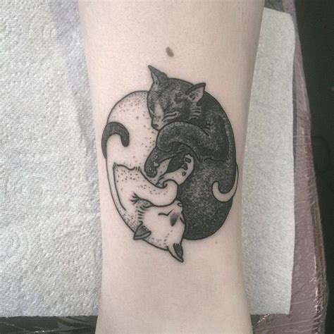 black and white cat tattoo yin yang black and white cats design future