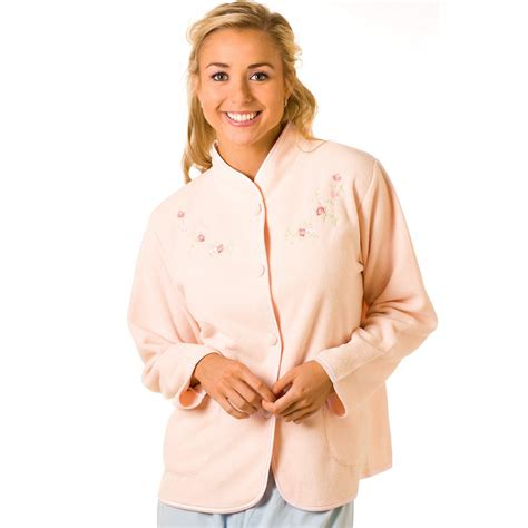 ladies bed jackets ladies camille peach embroidered fleece bed jacket womens