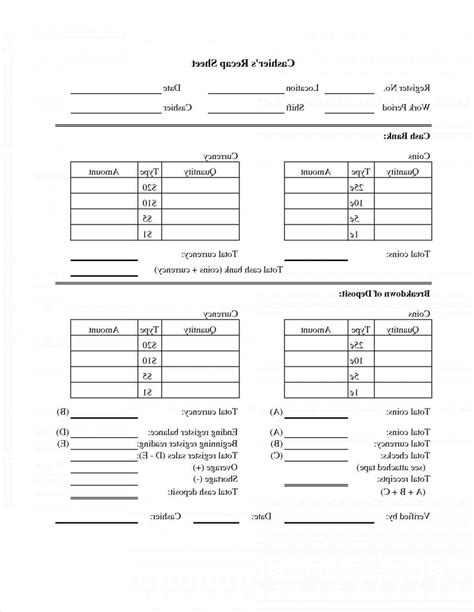 cash drawer reconciliation sheet sle templates