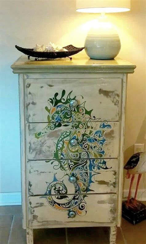 furniture makeover seahorse painting and seahorses on