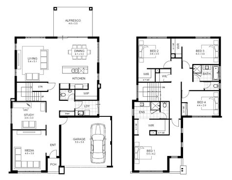 two floor plans 5 bedroom 2 house plans australia
