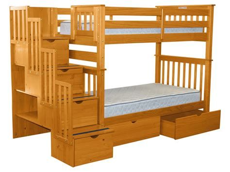 Bunk Beds With Drawers by Bedz King Bunk Beds Stairway Honey 2