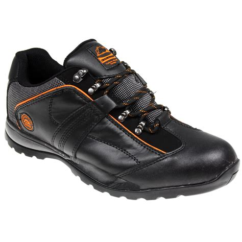 mens safety steel toe cap leather work trainers shoes