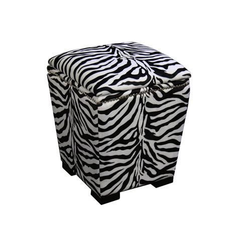 Zebra Storage Ottoman Ore International Zebra Storage Ottoman Hb4435 The Home Depot