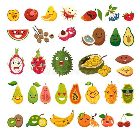 emoji  exotic fruits vector set stock vector