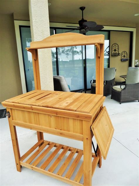potting bench bar diy potting bench turned outdoor bar be my guest with denise