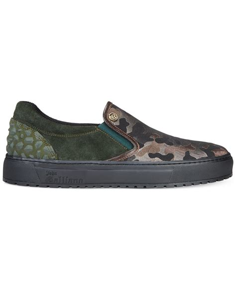 galliano sneakers galliano camo athletic slip on sneakers in green for