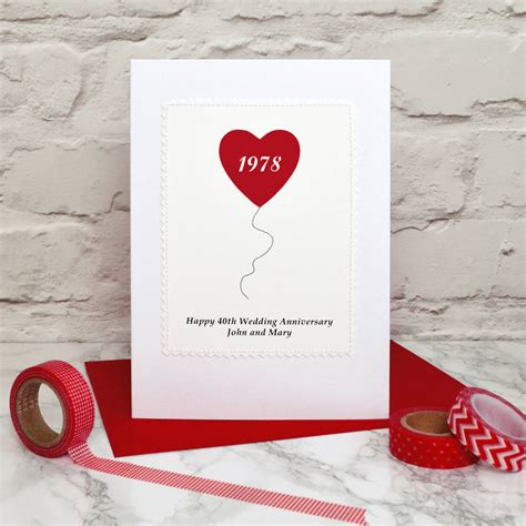 heart balloon personalised anniversary card  jenny