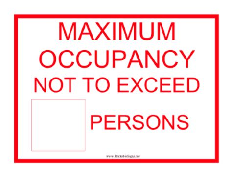 Printable Lift Max Capacity Persons Sign Occupancy Sign Template