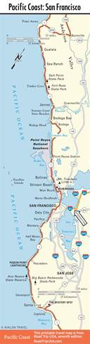 map of california coast of san francisco pacific coast highway road trip usa