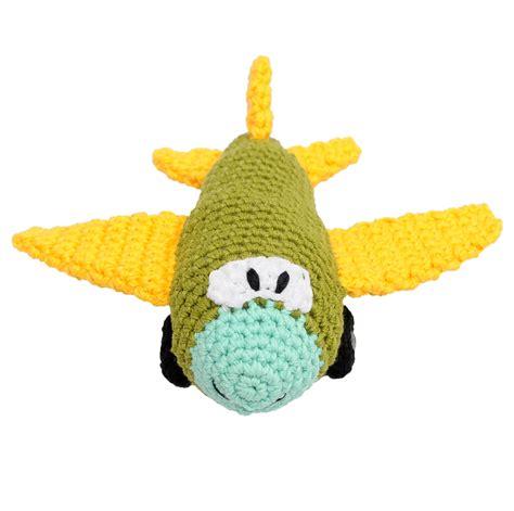 Handcrafted Toys - green aircraft handmade amigurumi stuffed knit crochet