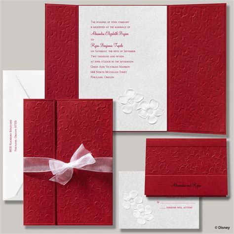 wedding invitation design red motif disney apple blossoms invitation snow white invitations