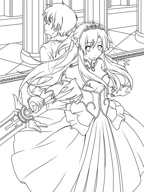 anime coloring pages sword art online sword art online kirito and asuna wedding lineart by