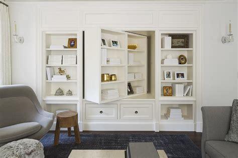 pivoting bookcase tv cabinet transitional living room benjamin moore white dove