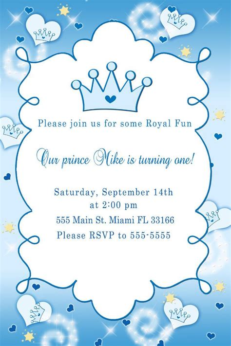Little prince baby shower invitations party xyz