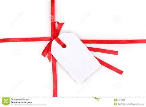 blank gift tag with bow on red satin ribbon stock photo
