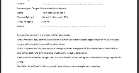 contoh surat kuasa lebih dari satu orang wisata dan info sumbar