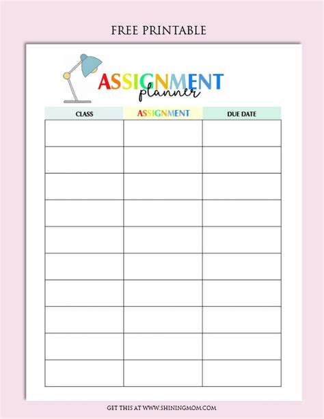 free printable school homework planner free assignment planner for kids and teens fun and cute