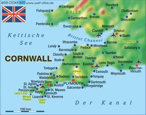 map uk cornwall map of cornwall region in united kingdom welt atlas de