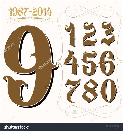 number fonts tattoo stock vector set of la style gangster numbers