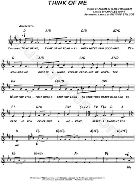 """""""Think of Me"""" from 'The Phantom of the Opera' Sheet Music"""