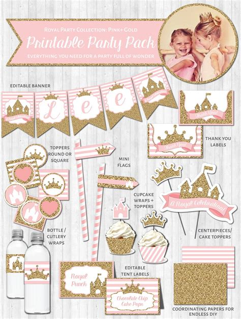 printable princess party decorations princess party decor pink gold glitter wonderbash