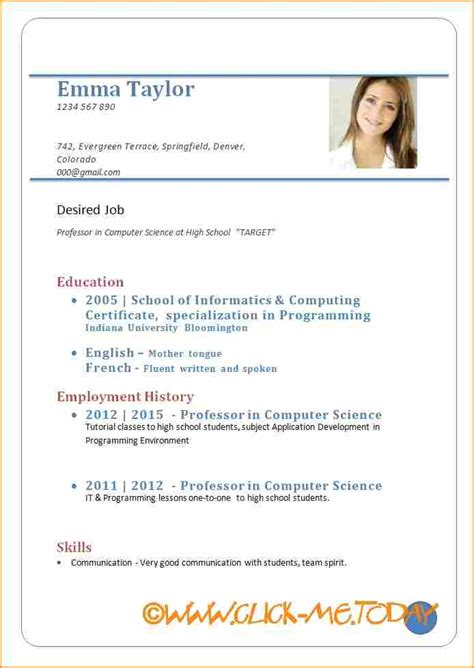 Resume Template In Pdf Format 10 sle cv for application pdf basic