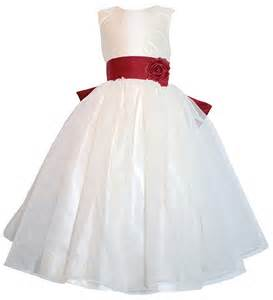 Christmas red and antique white flower girl dresses pegeen
