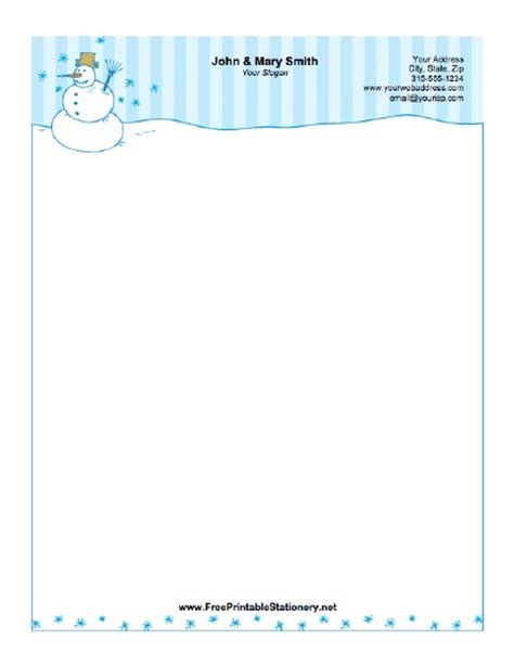 printable snowman stationery winter snowman stationery