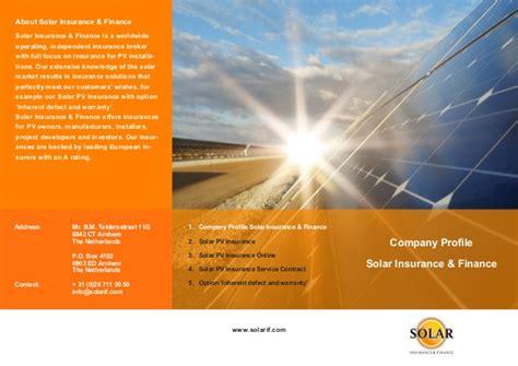 solar company brochure 1 company profile solar insurance finance