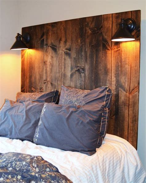 Headboard With Lights Rustic Vertical Grain Headboard With Lighting