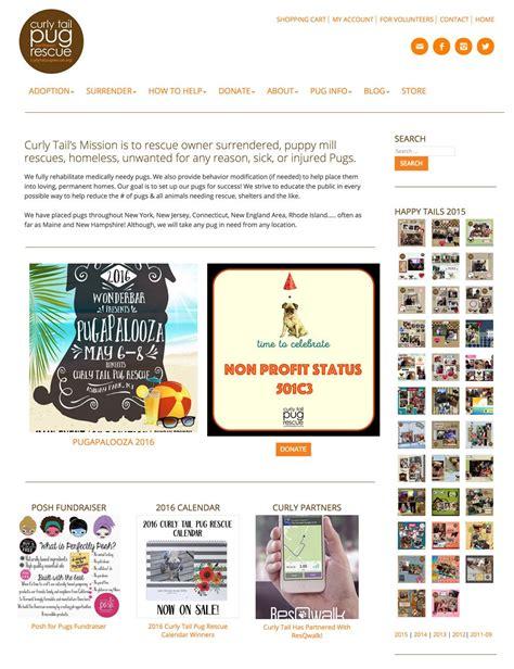curly pug rescue portfolio of work curious light web design