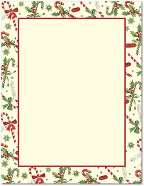 printable christmas paper frames candy cane holly letterhead christmas stationery x mas