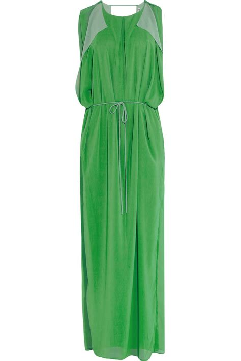 draped maxi dresses acne studios marnay draped chiffon maxi dress in green lyst