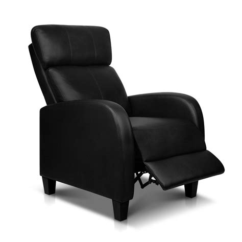 reclining armchair leather faux leather armchair recliner black