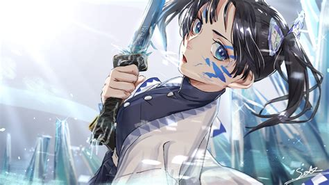 demon slayer aoi kanzaki  sword  background