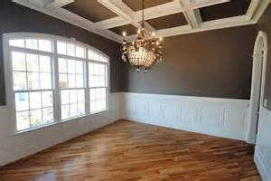 coffered walls white wainscoting with chocolate walls coffered ceiling