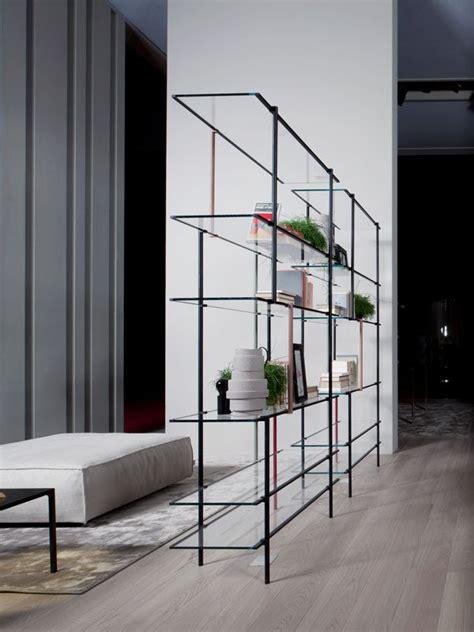 modern minimalist shelving system assembled  thin metal