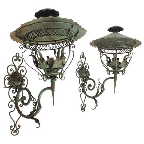 Antique Iron Sconces decorative antique american iron wall sconces at 1stdibs