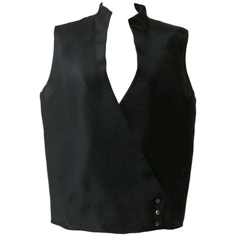 Vest Gianfranco Ferre Made In Italy 1990s gianfranco ferre black silk minimal vest for sale
