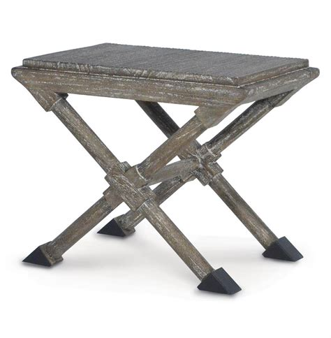 Marsh Stool by Marsh Square Coastal Style Grey Distressed Ottoman