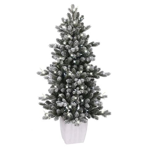 ge 75 ft pre lit alaskan fir flocked artificial christmas tree with 600 color changing warm white led lights shop ge 4 ft pre lit colorado spruce slim flocked artificial tree at lowe s canada