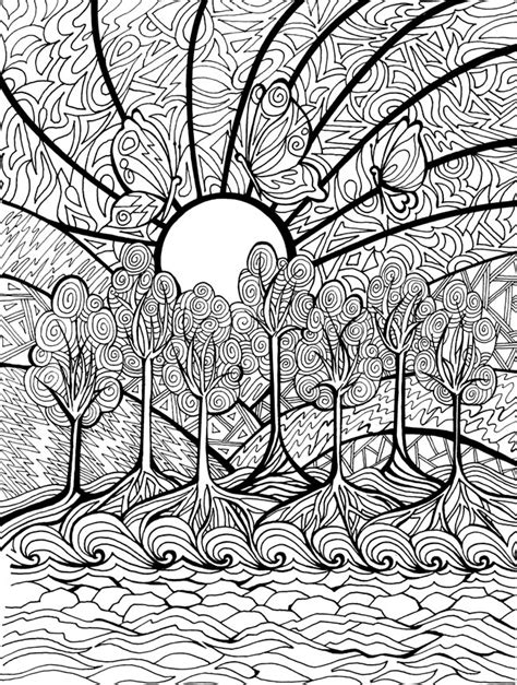 free coloring pages of intricate landscape 10739
