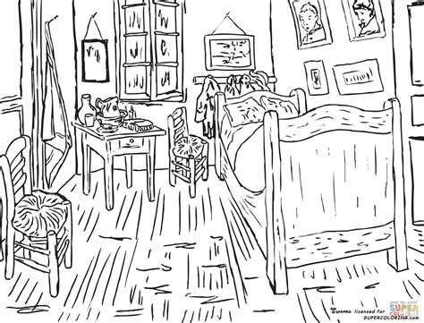 coloring pages vincent van gogh bedroom at arles by vincent van gogh coloring page free