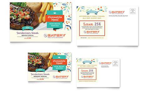 family restaurant postcard template design