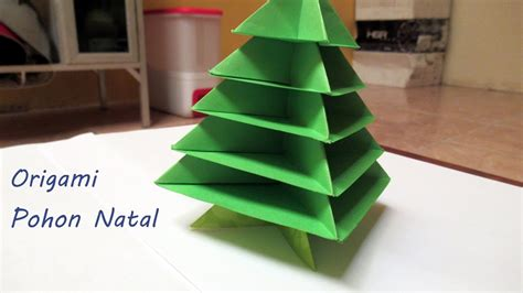 membuat pohon natal origami membuat pohon natal dari kertas origami mudah youtube